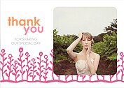 Flower Garden Thanks Coral Pink Thank You Flat Cards - Front