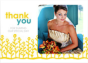 Flower Garden Thanks Yellow Teal Thank You Flat Cards - Front