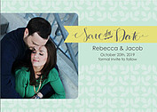 Floral Date Green Save the Date Flat Cards - Front