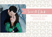 Floral Date Pink Save the Date Flat Cards - Front