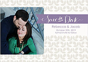Floral Date Purple Save the Date Flat Cards - Front