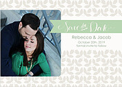 Floral Date Sage Save the Date Flat Cards - Front