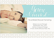 Floral Shower Aqua Shower Invites Flat Cards - Front