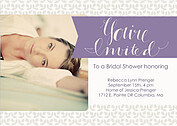 Floral Shower Purple Shower Invites Flat Cards - Front