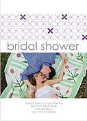 Criss Cross Shower Purple Shower Invites Flat Cards - Front