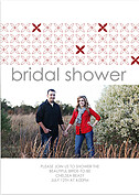 Criss Cross Shower Red Shower Invites Flat Cards - Front
