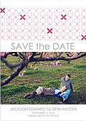 Criss Cross Date Pink Save the Date Flat Cards - Front