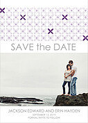 Criss Cross Date Purple Save the Date Flat Cards - Front