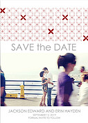 Criss Cross Date Red Save the Date Flat Cards - Front