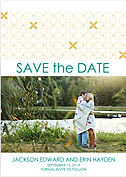 Criss Cross Date Gold Save the Date Flat Cards - Front