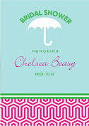 Preppy Mosaic Shower Shower Invites Flat Cards - Front
