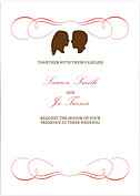 Salmon Silhouette Invitation Wedding Invites Flat Cards - Front