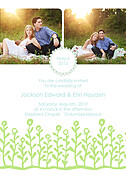 Flower Garden Invitation Blue Green Wedding Invites Flat Cards - Front