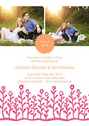 Flower Garden Invitation Coral Pink Wedding Invites Flat Cards - Front