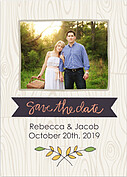 Woodgrain Date Purple Save the Date Flat Cards - Front