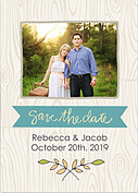 Woodgrain Date Teal Save the Date Flat Cards - Front