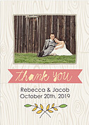 Woodgrain Thank You Pink Thank You Flat Cards - Front