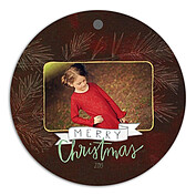 Dark Pine Crimson Christmas Holiday Ornaments - Front