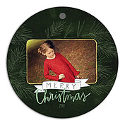 Dark Pine Hunter Christmas Holiday Ornaments - Front