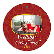 Delightful Orbs Red Christmas Holiday Ornaments - Front