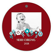 Floral Wishes Christmas Holiday Ornaments - Front