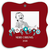 Floral Wishes Square Ornate Christmas Holiday Ornaments - Front