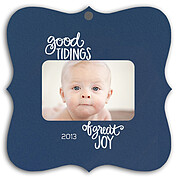 Good Tidings Blue Square Ornate - Front
