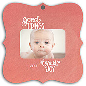 Good Tidings Coral Square Ornate - Front