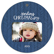 Herringbone Navy Christmas Holiday Ornaments - Front