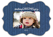 Herringbone Navy Ornate Christmas Holiday Ornaments - Front