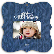 Herringbone Navy Square Ornate Christmas Holiday Ornaments - Front