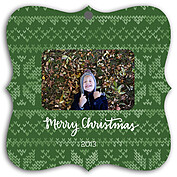 Holiday Sweater Green Square Ornate - Front