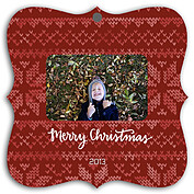 Holiday Sweater Red Square Ornate Christmas Holiday Ornaments - Front