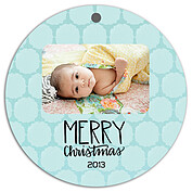 Pattern Aqua Christmas Holiday Ornaments - Front