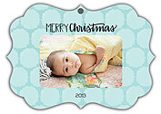 Pattern Aqua Ornate Christmas Holiday Ornaments - Front