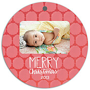 Pattern Pink Christmas Holiday Ornaments - Front