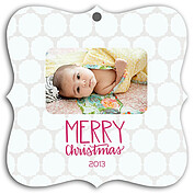 Pattern Tan White Square Ornate Christmas Holiday Ornaments - Front