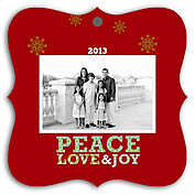 Polka Peace Square Ornate Holiday Holiday Ornaments - Front