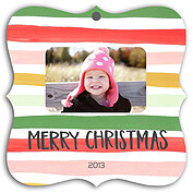 Ornament Stripes Square Ornate Christmas Holiday Ornaments - Front