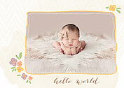 Casual Floral Gold Birth Announcements Magnets - Front