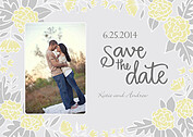 Floral Wreath Date Yellow Wedding Magnets - Front