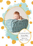 Watercolor Shimmer Aqua Birth Announcements Magnets - Front