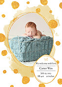 Watercolor Shimmer Dark Goldenrod Birth Announcements Magnets - Front