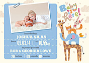 Baby Is Here Blue Birth Announcements Magnets - Front