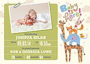 Baby Is Here Green Birth Announcements Magnets - Front