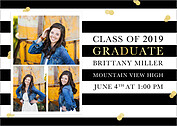 Glitter And Gold Graduation Magnets - Front