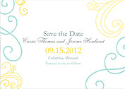 Fanciful Mod Date 1 Wedding Magnets - Front