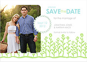 Flower Garden Date Blue Green Wedding Magnets - Front