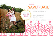 Flower Garden Date Coral Pink Wedding Magnets - Front