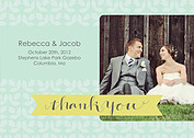 Floral Thank You Green Wedding Magnets - Front